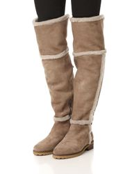 Frye - Brown Tamara Shearling Over-the-knee Boot - Lyst