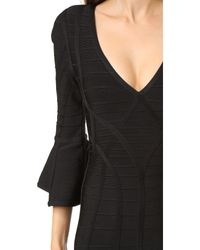 Hervé Léger - Black Yasmine Flare Sleeve Dress - Lyst