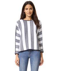 INTROPIA - Blue Striped Sweater - Lyst