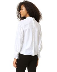 INTROPIA - White Mock Neck Blouse - Lyst