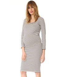 Monrow | Natural Maternity Stripe Long Sleeve Dress | Lyst
