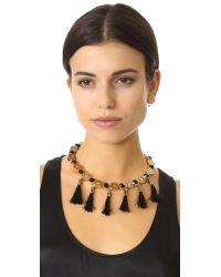 kate spade new york - Black Moroccan Tile Tassel Statement Necklace - Lyst