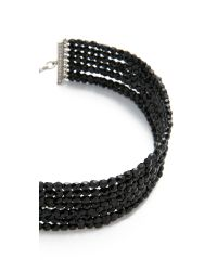 Kenneth Jay Lane - Black 8 Row Bead Choker Necklace - Lyst