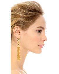 Kenneth Jay Lane | Metallic Chain Tassel Earrings | Lyst