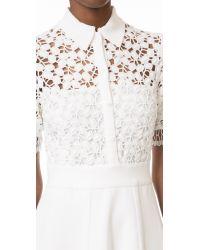 Lela Rose - White Lace Knit Shirtdress - Lyst