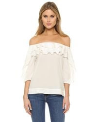 L'Agence - White Monroe Top - Lyst