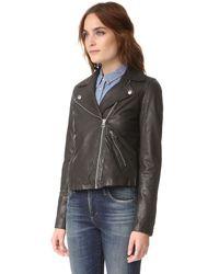 Madewell - Black Washed Leather Motorcycle Jacket - Lyst