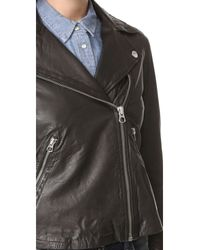 Madewell | Black Washed Leather Motorcycle Jacket | Lyst