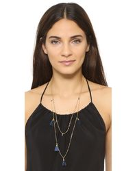 Madewell - Blue Tassel Layered Chain Necklace - Lyst