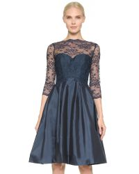 Monique Lhuillier Bridesmaids | Blue Lace Bodice V Back Dress | Lyst