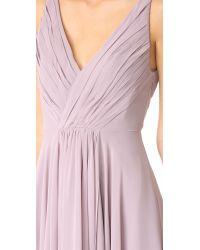 Monique Lhuillier Bridesmaids | Purple Deep V-neck Ruffle Pleat Chiffon Gown | Lyst