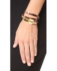 McQ - Metallic Razor Triple Wrap Bracelet - Lyst