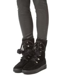 MICHAEL Michael Kors - Black Juno Faux Fur Lace Up Boots - Lyst