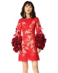 Marchesa | Red Cocktail Dress With Organza Flowers | Lyst