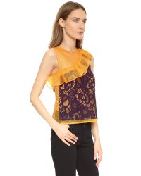 MSGM - Yellow Lace Ruffle Top - Lyst