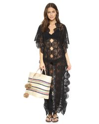 Nightcap - Black Seashell Lace Caftan - Lyst