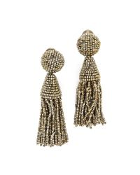 Oscar de la Renta   Metallic Classic Short Tassel Earrings   Lyst
