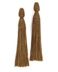 Oscar de la Renta | Metallic Long Chain Tassel Earrings | Lyst