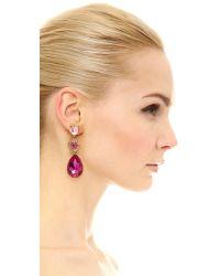 Oscar de la Renta - Pink Flower Drop Pave Earrings - Lyst