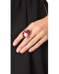 Oscar de la Renta - Multicolor Teardrop Crystal Ring - Lyst