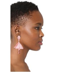 Oscar de la Renta - Pink Small Impatiens Drop Clip On Earrings - Lyst