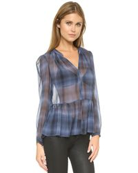 Rebecca Taylor - Blue Shadow Plaid Top - Denim Combo - Lyst