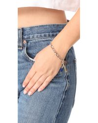 Rebecca Minkoff - Metallic Beaded Tri Layer Bracelet - Lyst