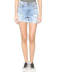 R13 - Blue Shredded Slouch Shorts - Lyst