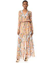Saloni | Green 'nikki' Floral Dress | Lyst