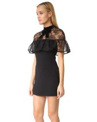 Self-Portrait - Black Line Lace Mini Dress - Lyst