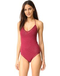 She Made Me - Red Crochet One Piece - Lyst