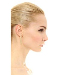 Soave Oro - Metallic Elongated Ribbed Hoop Earrings - Lyst