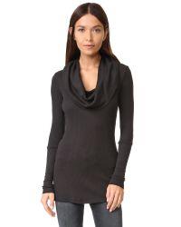 Splendid | Black Thermal Long Sleeve Cowl Neck | Lyst