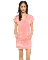 Splendid - Pink Burnout Active Hooded Dress - Lyst