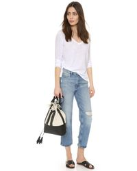 Sundry - White Boxy Long Sleeve V Neck Tee - Lyst