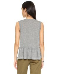 The Great - Gray The Sleeveless Ruffle Tee - Lyst