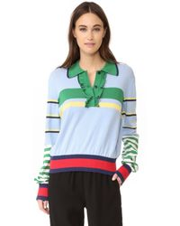 Tommy Hilfiger   Blue Striped Ruffle Polo Sweater   Lyst
