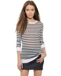 T By Alexander Wang | Blue Striped Rayon Linen Tee | Lyst