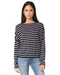 VINCE | Multicolor Skinny Stripe Boatneck Sweater | Lyst