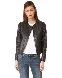VINCE | Black Zip Front Leather Jacket | Lyst