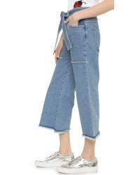 Victoria, Victoria Beckham Blue Patch Pocket Culotte Jeans
