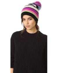 White + Warren | Black Cashmere Multicolor Stripe Beanie With Pom Pom | Lyst