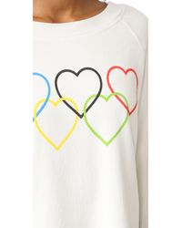 Wildfox - Black Olympic Hearts Cropped Sweatshirt - Lyst