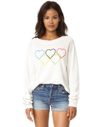 Wildfox | Black Olympic Hearts Cropped Sweatshirt | Lyst