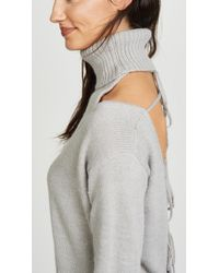 Glamorous - Gray Cold Shoulder Turtleneck Sweater - Lyst