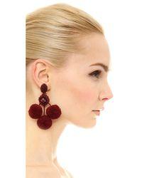 Oscar de la Renta | Red Triple Pom Pom Clip On Earrings | Lyst