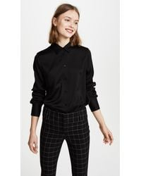 Vince - Black Slim Fitted Blouse - Lyst