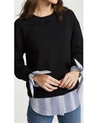 10 Crosby Derek Lam - Black Sweatshirt With Shirting Detail - Lyst