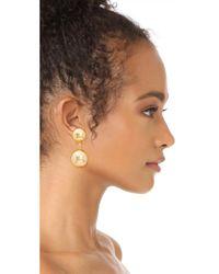 Oscar de la Renta - Metallic Drop Clip On Earrings - Lyst
