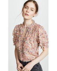 Rebecca Taylor - Multicolor Short Sleeve Margo Floral Top - Lyst